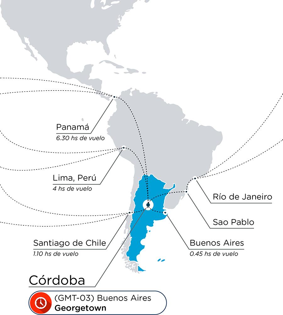 mapa conectividad internacional córdoba - argentina